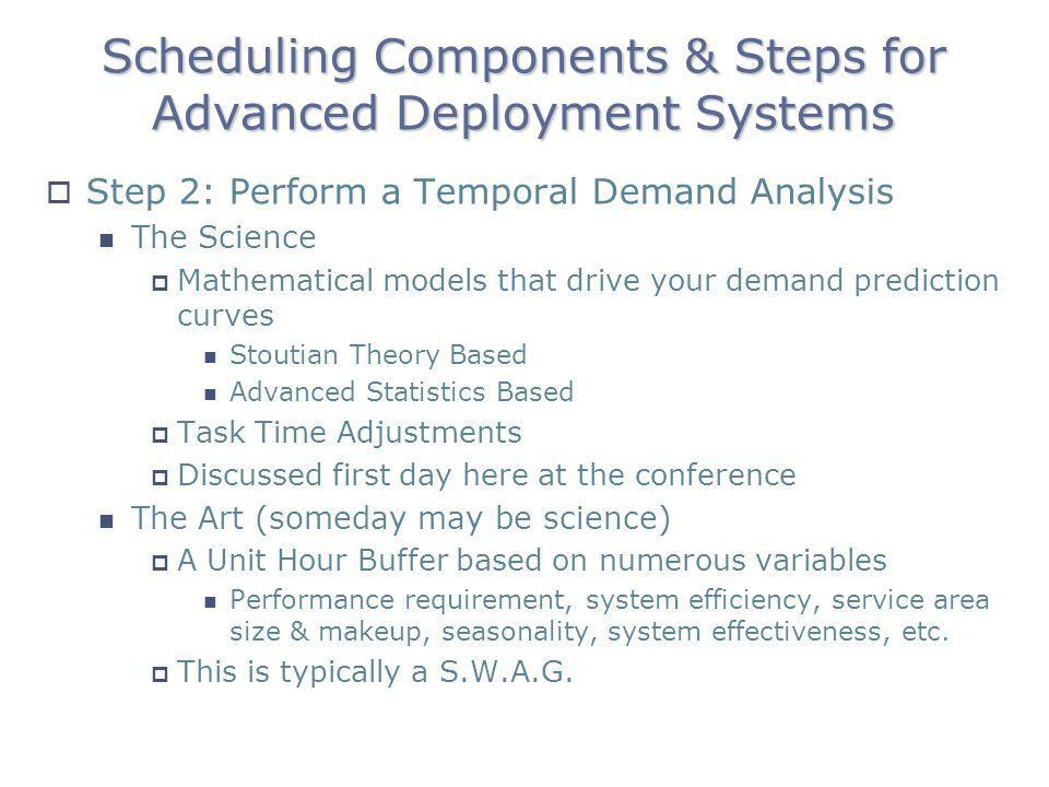 Scheduling Components & Steps for Advanced Deployment Systems