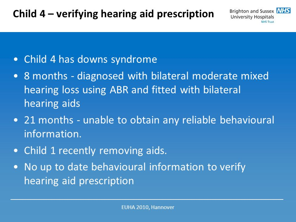 Child 4 – verifying hearing aid prescription