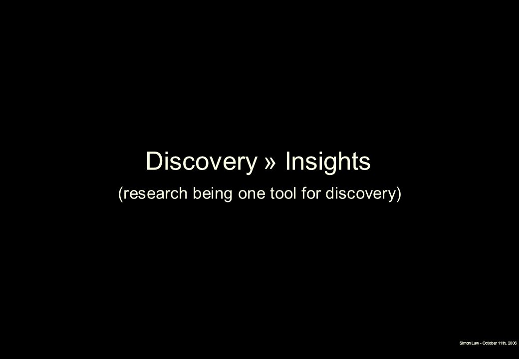 (research being one tool for discovery)