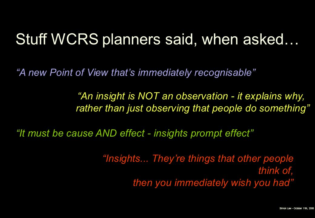 Stuff WCRS planners said, when asked…