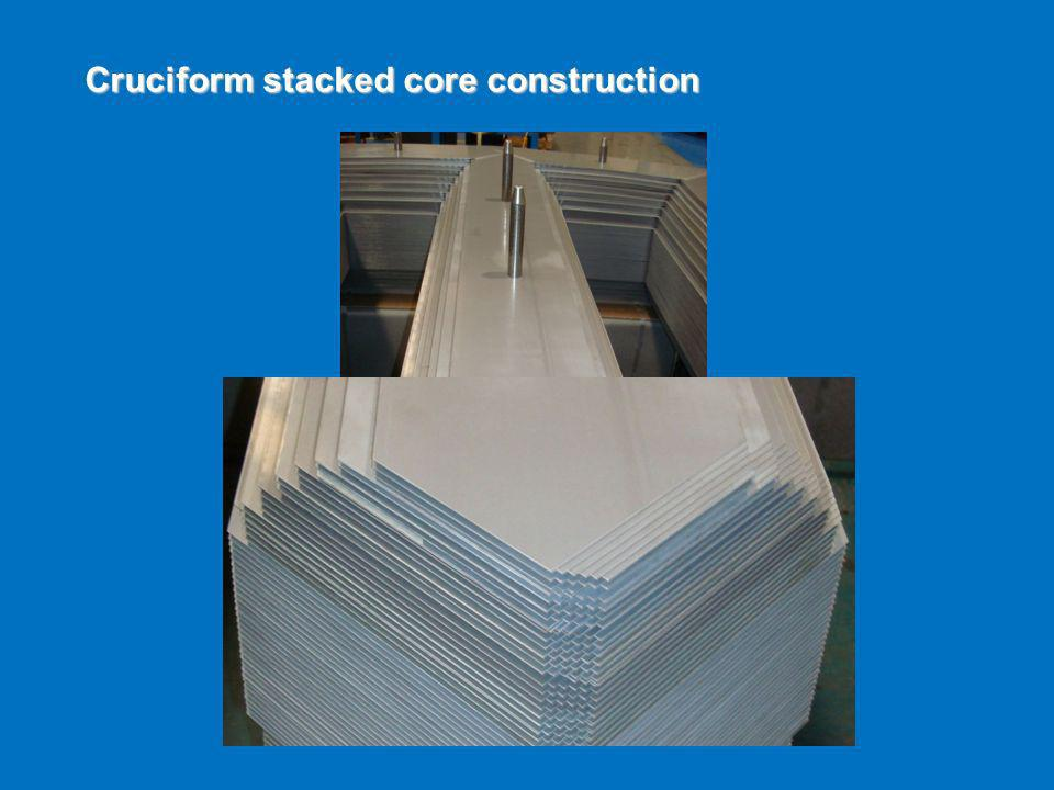 Cruciform stacked core construction