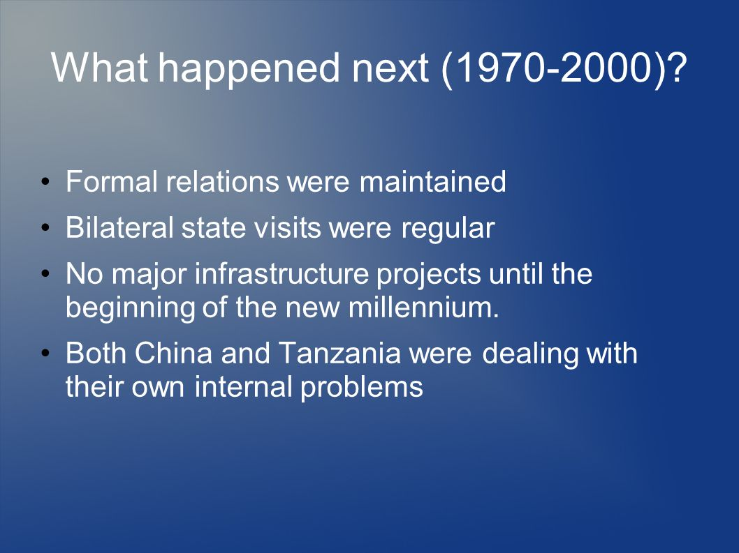 What happened next (1970-2000) Formal relations were maintained