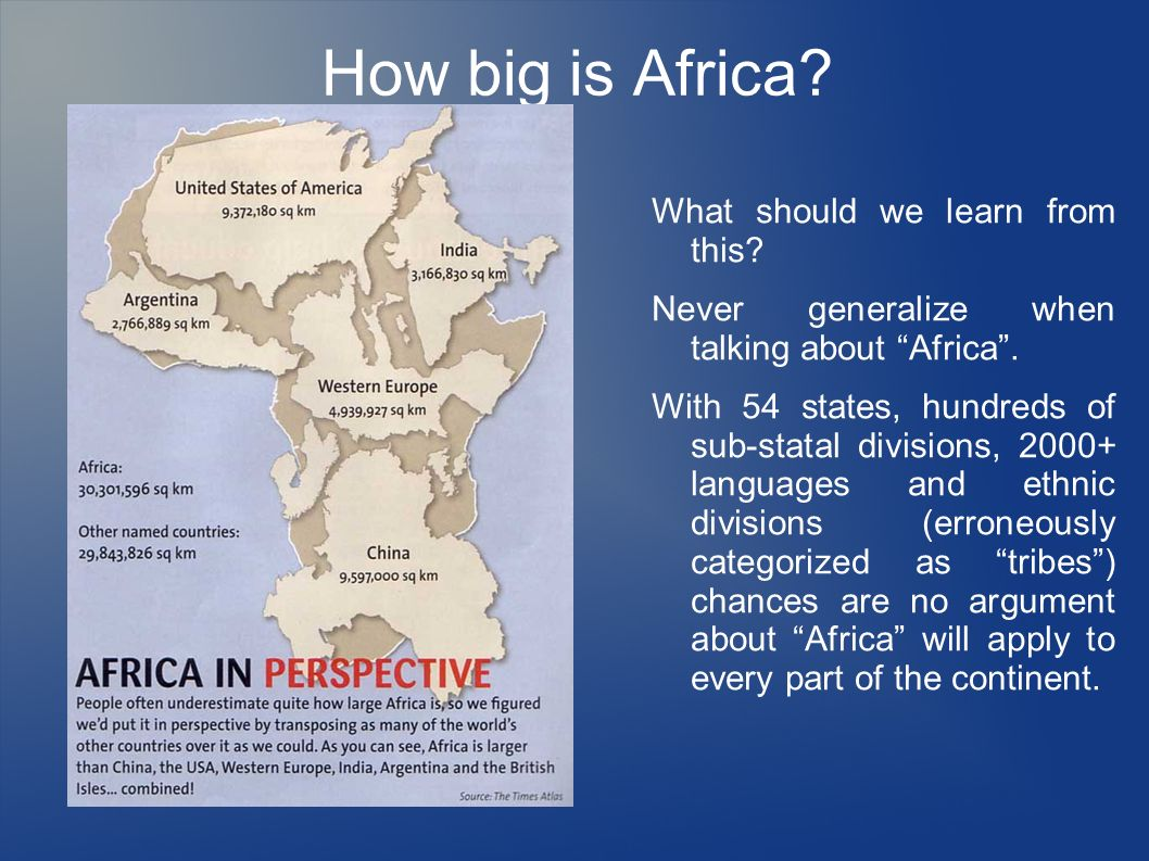 How big is Africa What should we learn from this