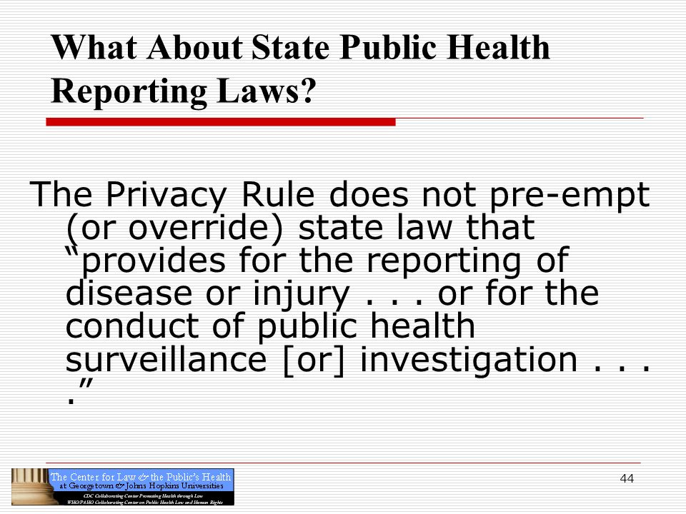 What About State Public Health Reporting Laws