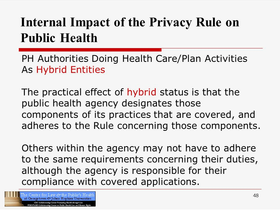 Internal Impact of the Privacy Rule on Public Health