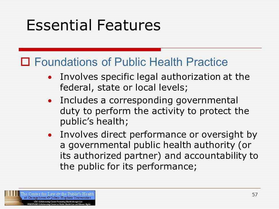 Essential Features Foundations of Public Health Practice