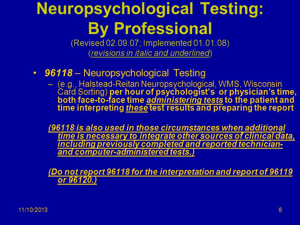 Neuropsychological Testing: By Professional (Revised