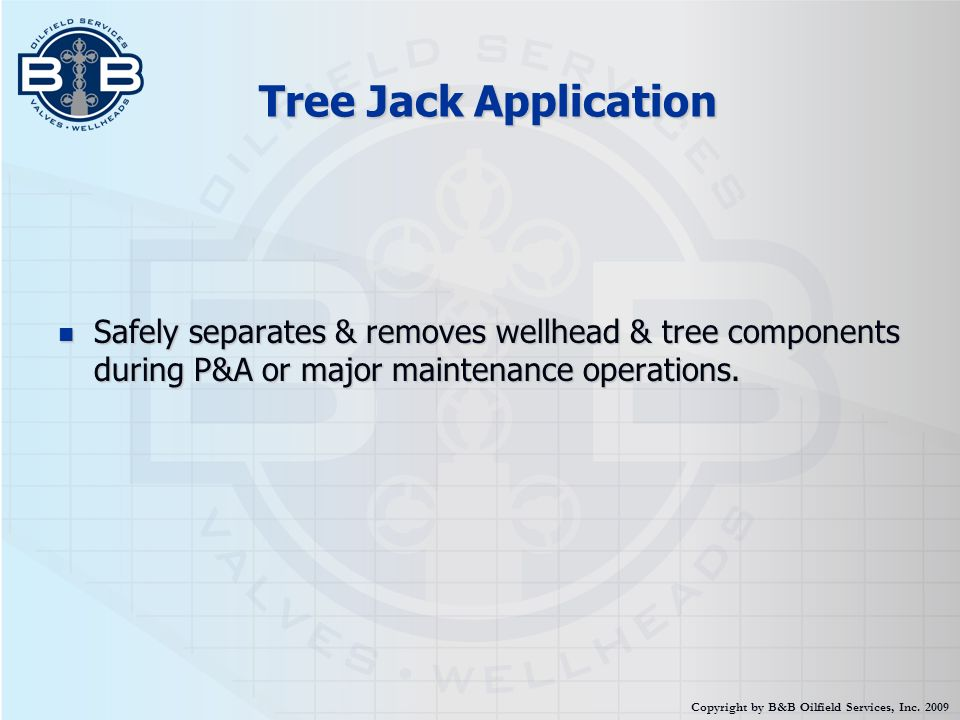 Tree Jack Application Safely separates & removes wellhead & tree components during P&A or major maintenance operations.
