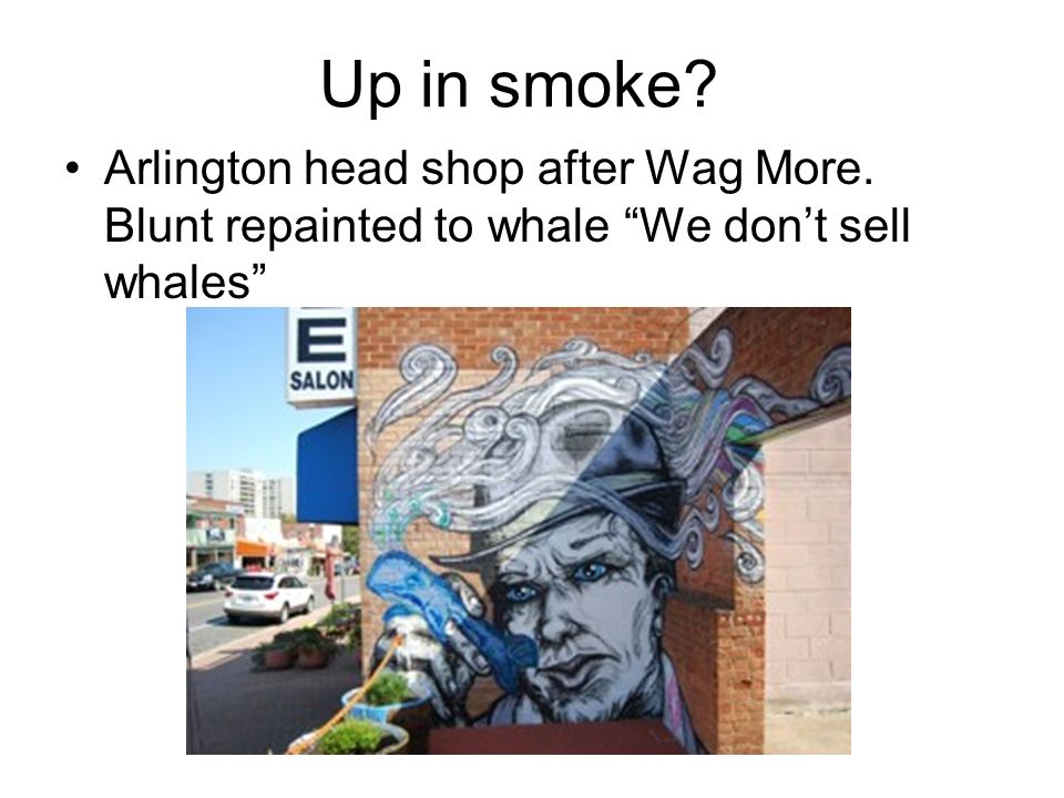 Up in smoke Arlington head shop after Wag More. Blunt repainted to whale We don't sell whales