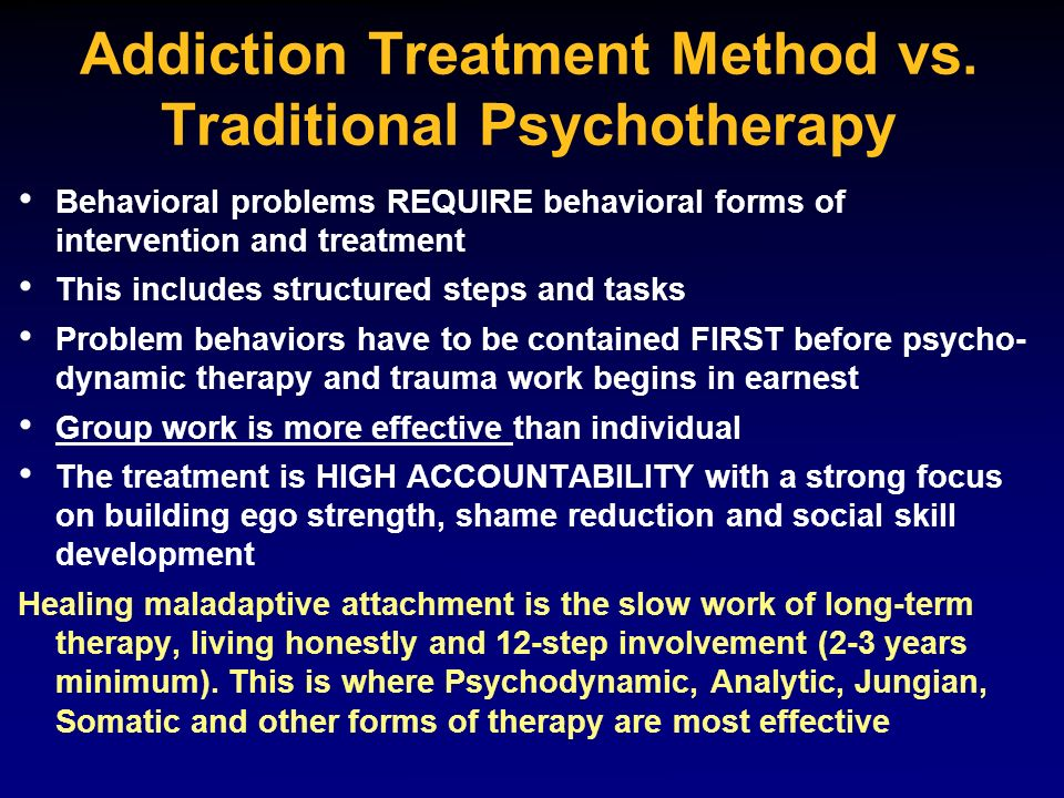 Addiction Treatment Method vs. Traditional Psychotherapy