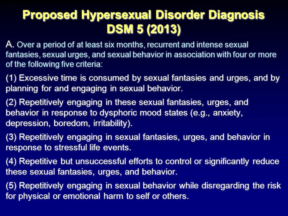 Proposed Hypersexual Disorder Diagnosis DSM 5 (2013)