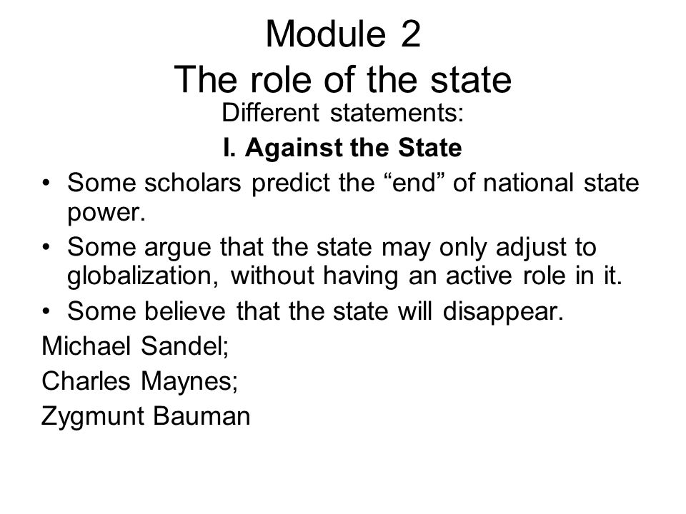Module 2 The role of the state