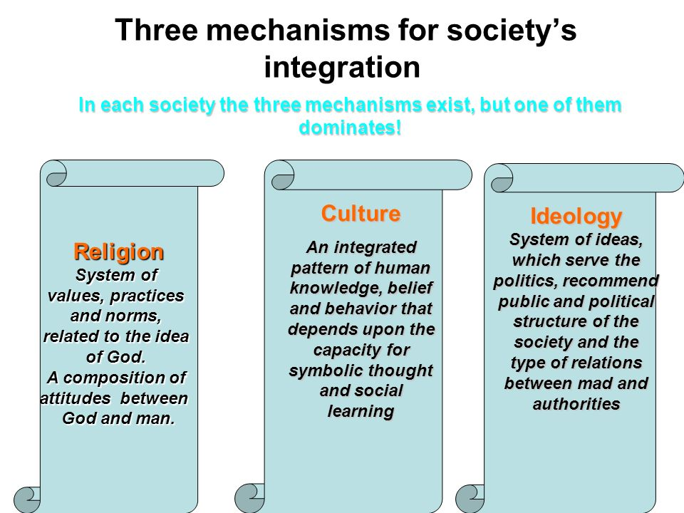 Three mechanisms for society's integration