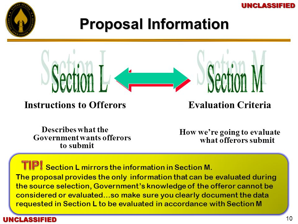 Proposal Information Section L Section M Instructions to Offerors