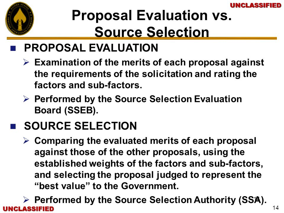 Proposal Evaluation vs.