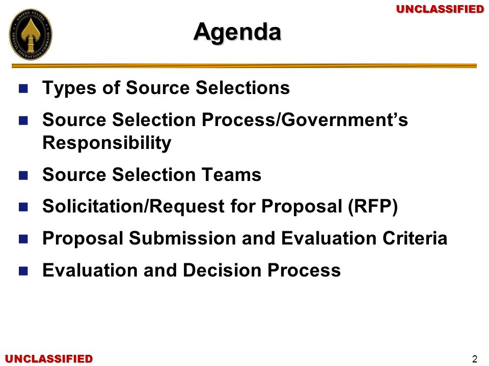 Agenda Types of Source Selections