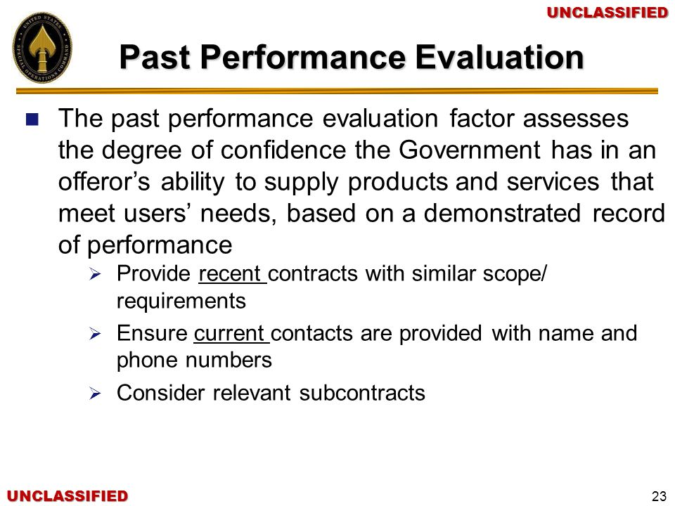 Past Performance Evaluation