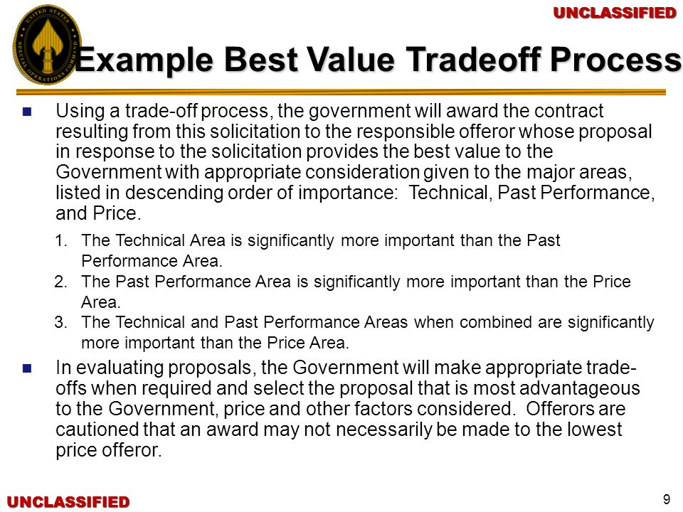 Example Best Value Tradeoff Process