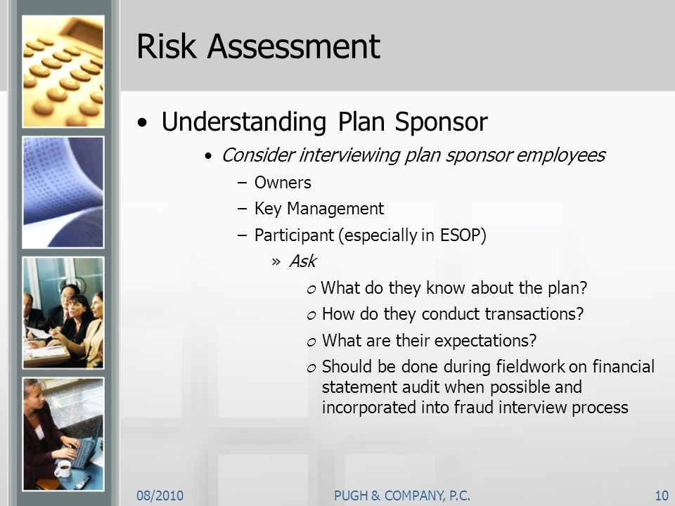 Risk Assessment Understanding Plan Sponsor