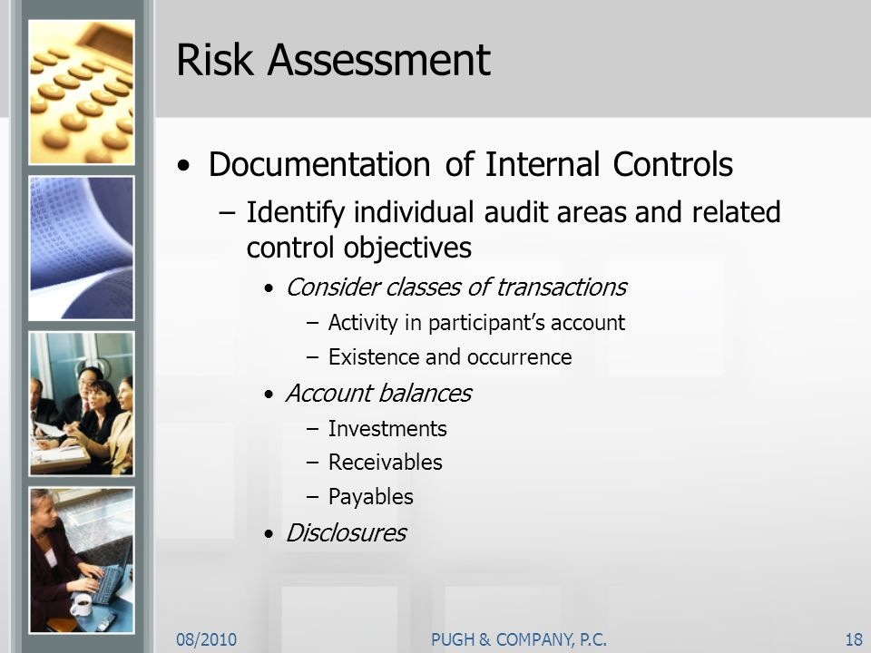 Risk Assessment Documentation of Internal Controls