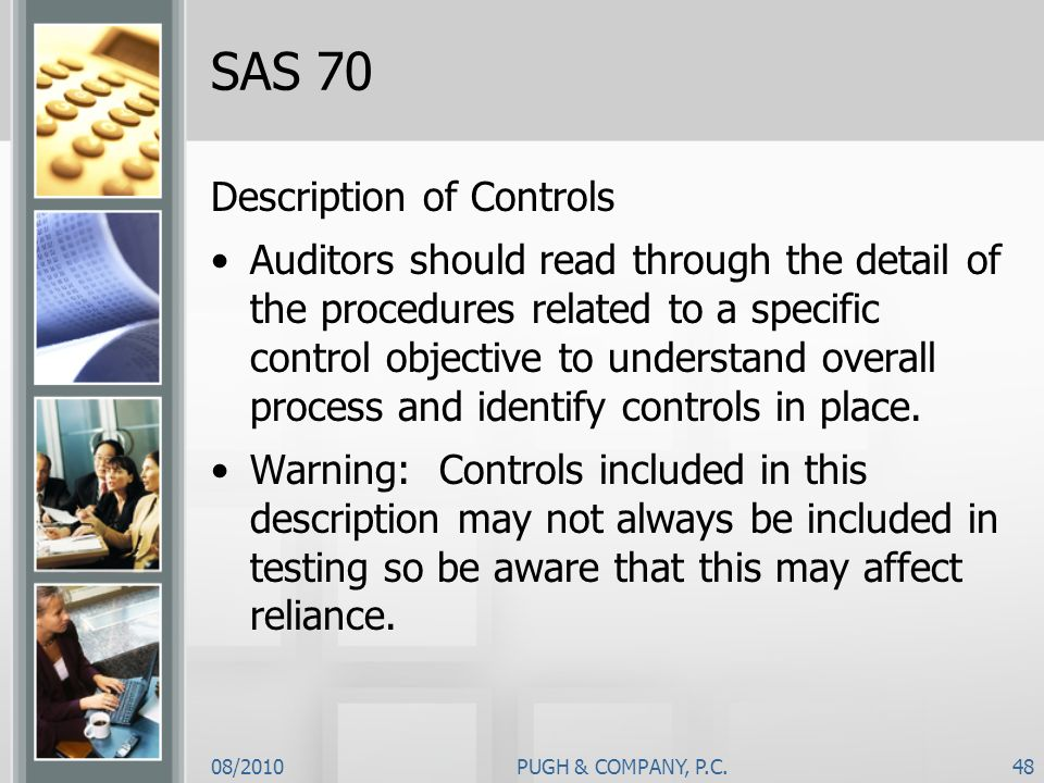 SAS 70 Description of Controls