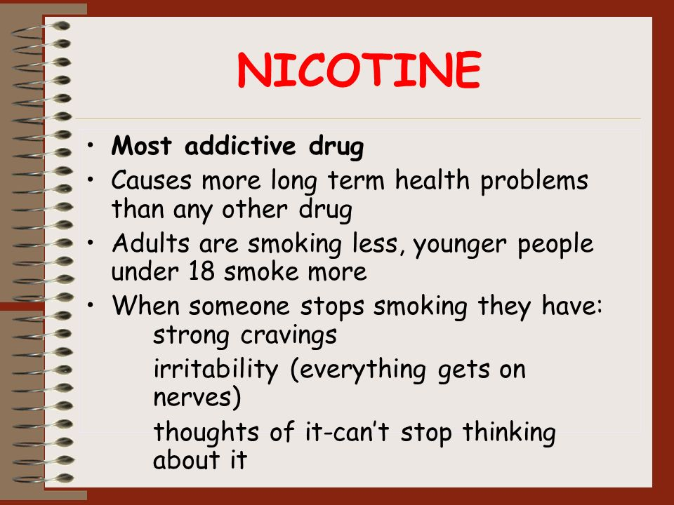NICOTINE Most addictive drug