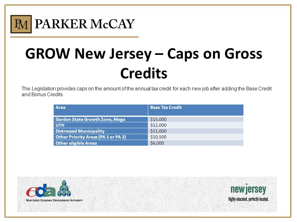 GROW New Jersey – Caps on Gross Credits