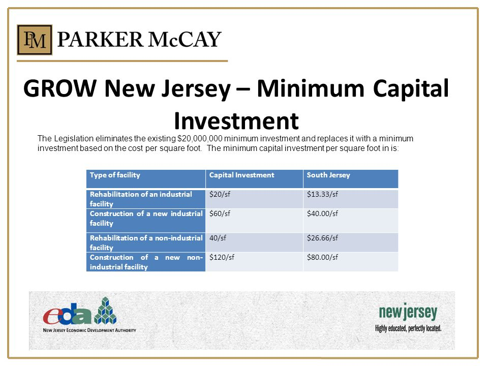 GROW New Jersey – Minimum Capital Investment