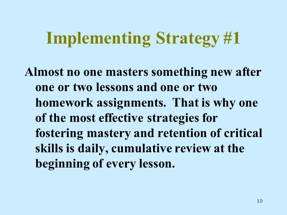 Implementing Strategy #1