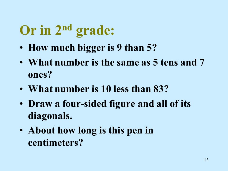Or in 2nd grade: How much bigger is 9 than 5