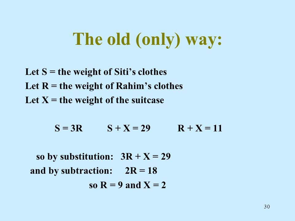 The old (only) way: Let S = the weight of Siti's clothes