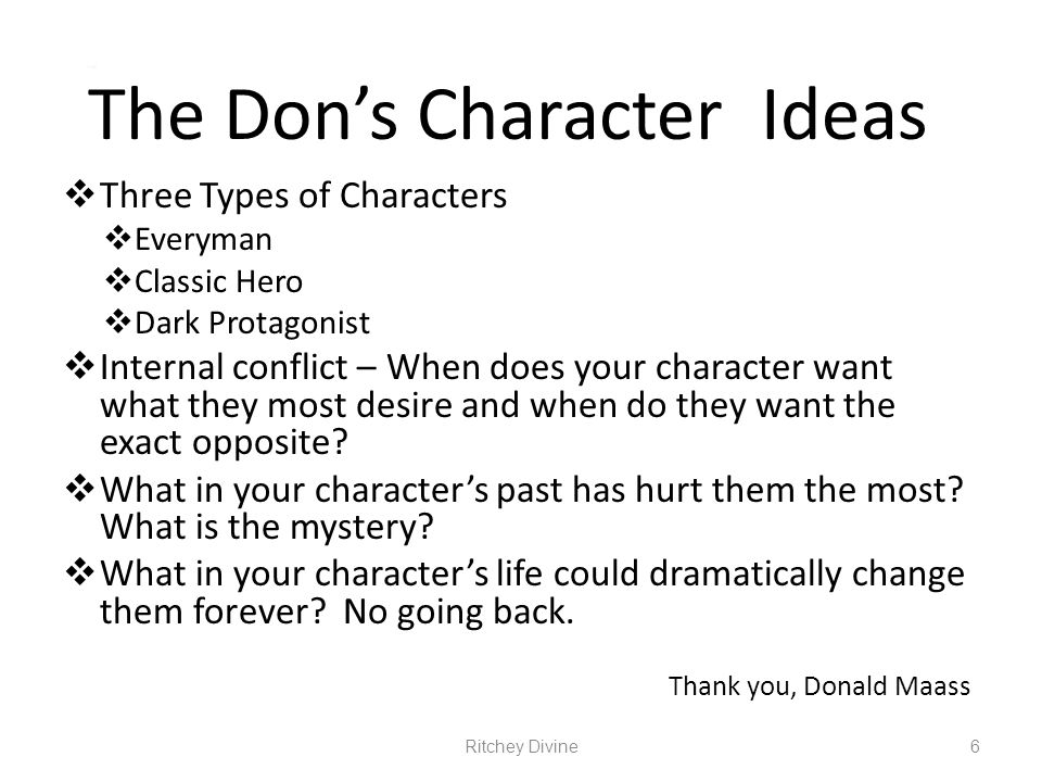 The Don's Character Ideas