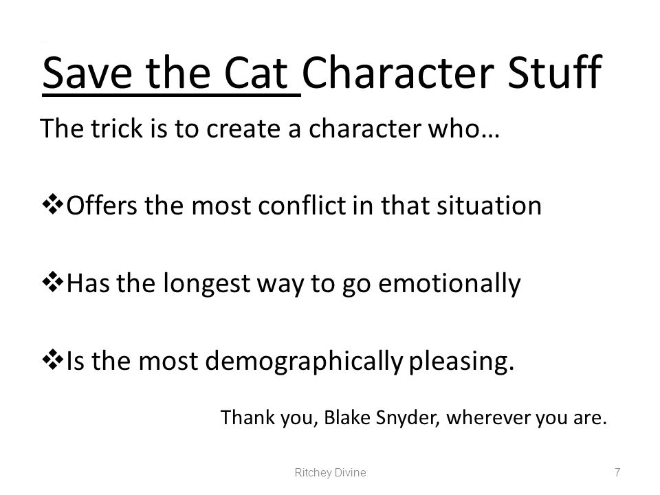 Save the Cat Character Stuff