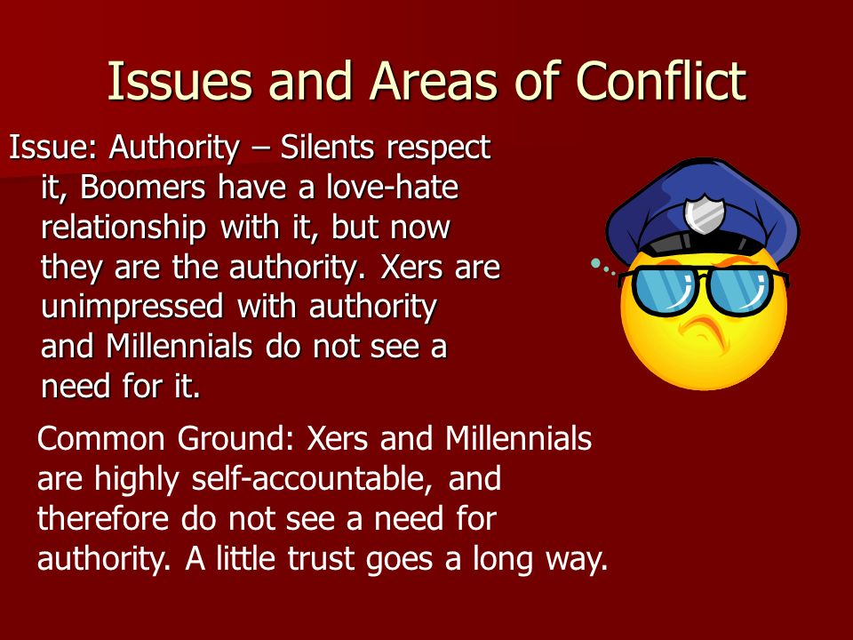 Issues and Areas of Conflict