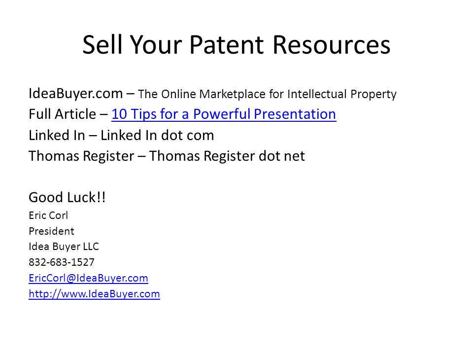 Sell Your Patent Resources