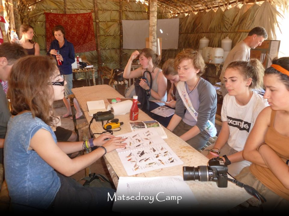 As with the Mariarano Camp there are large covered areas for training, food and data entry. Students stay in tents at this camp and have the same shower and toilet facilities as at the main camp.