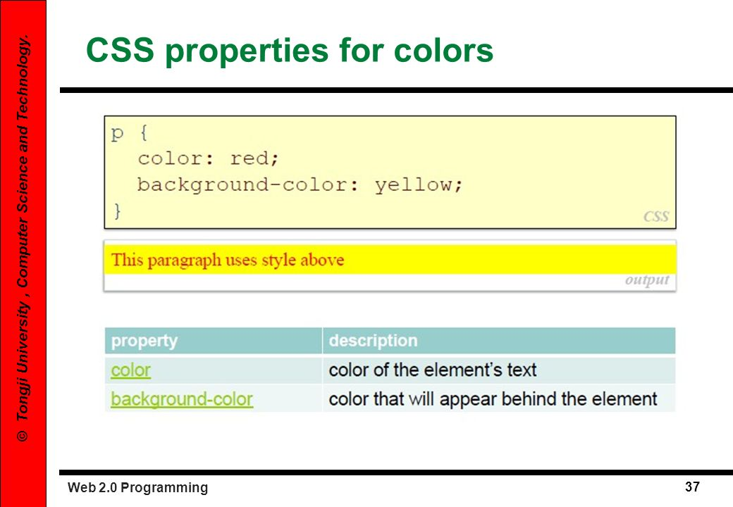 CSS properties for colors