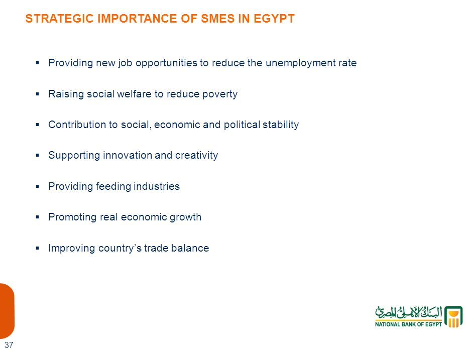 STRATEGIC IMPORTANCE OF SMES IN EGYPT