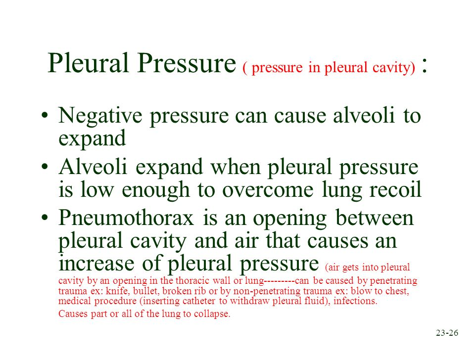 Pleural Pressure ( pressure in pleural cavity) :