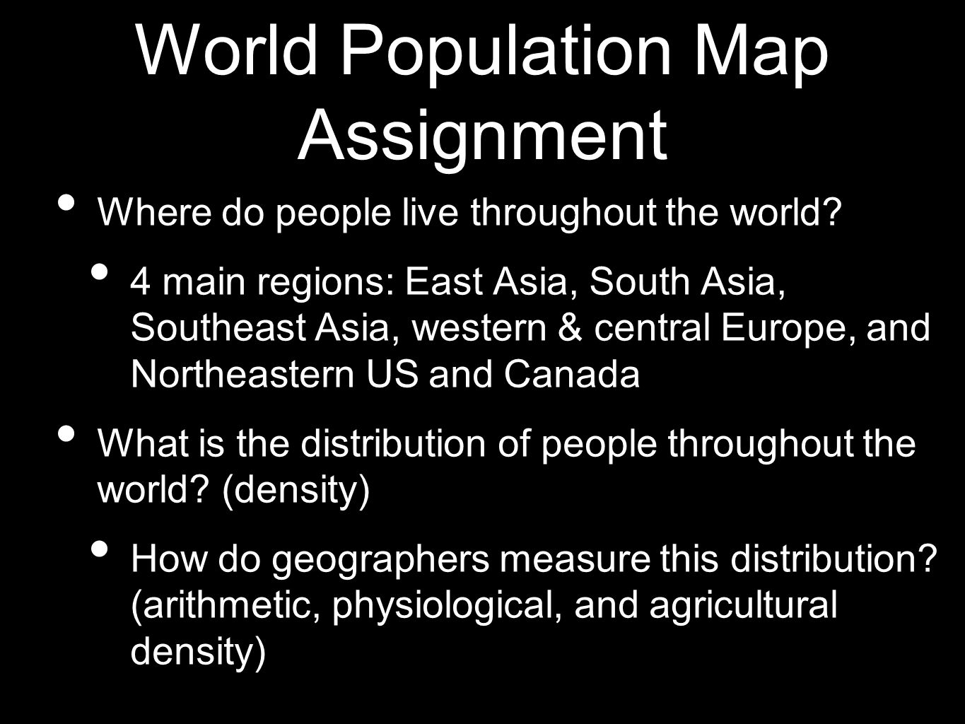World Population Map Assignment