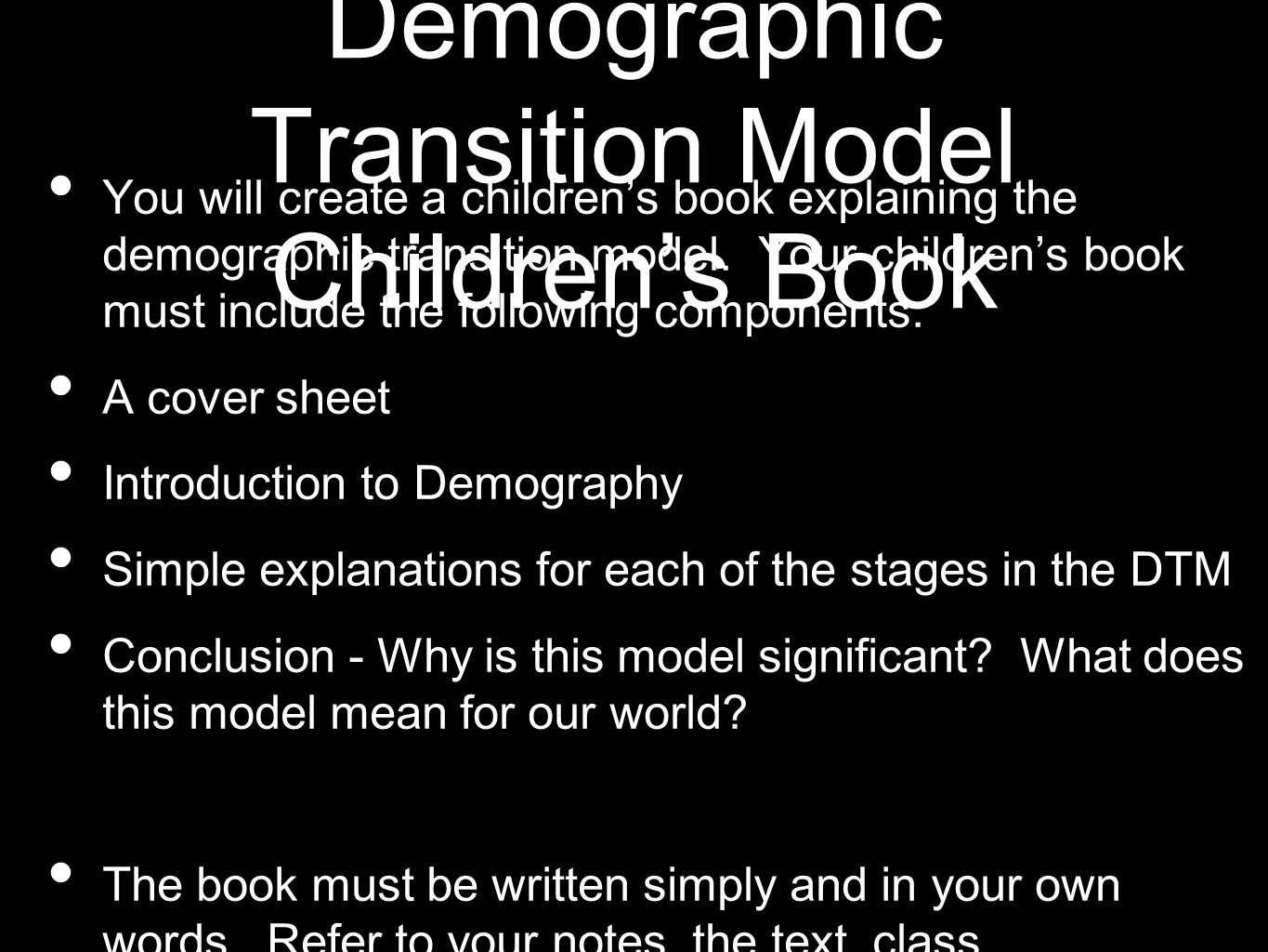 Demographic Transition Model Children's Book