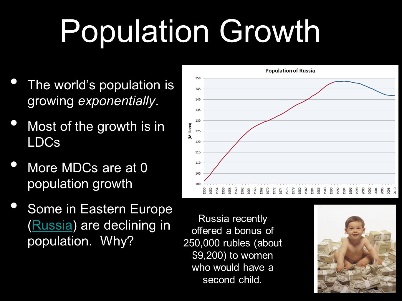 Population Growth The world's population is growing exponentially.