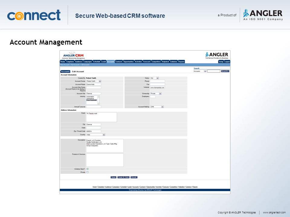 Account Management Secure Web-based CRM software a Product of