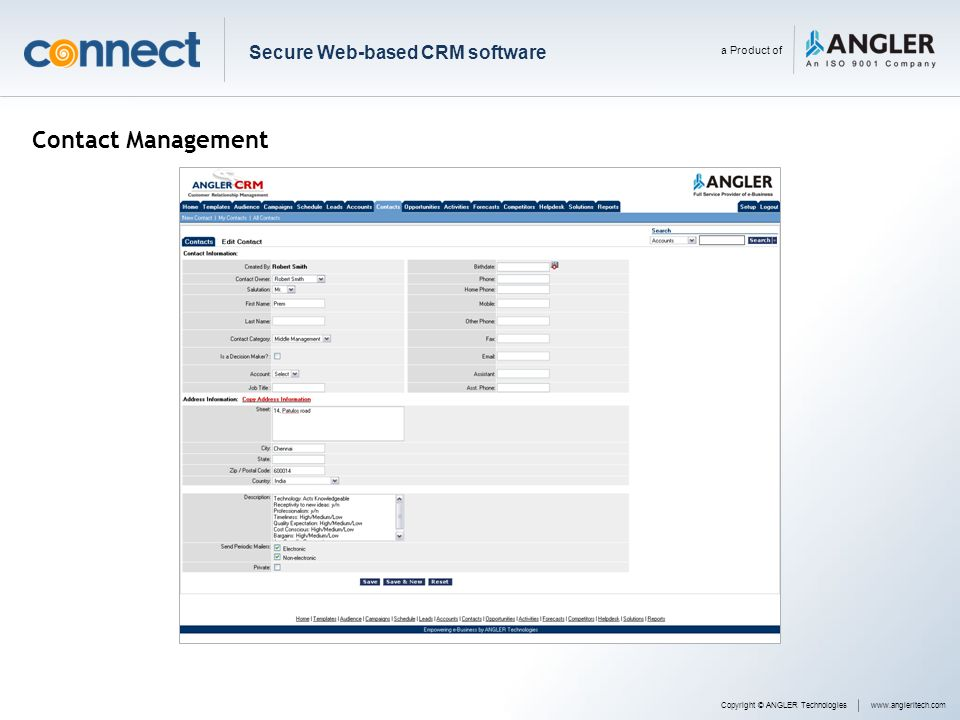 Contact Management Secure Web-based CRM software a Product of