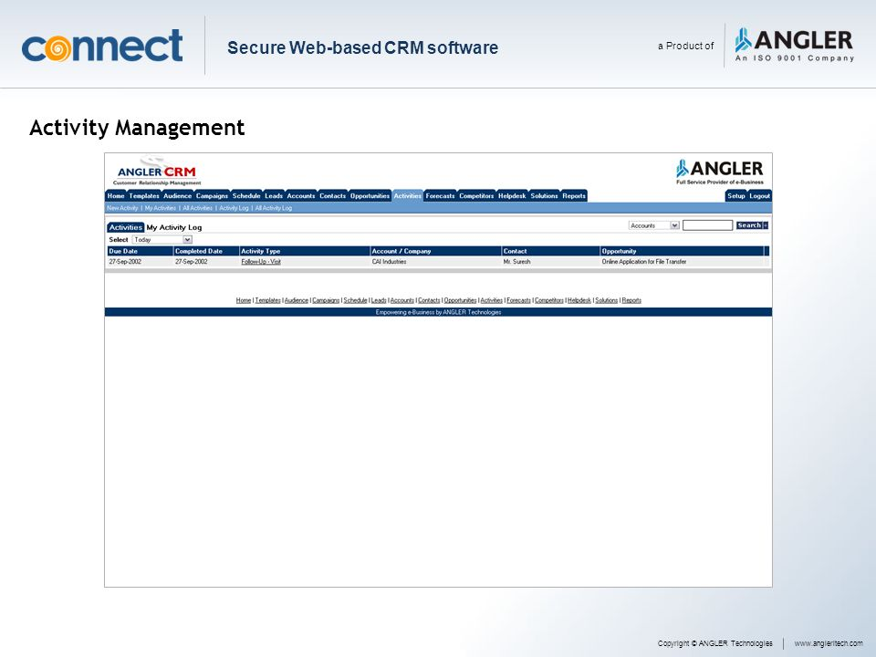 Activity Management Secure Web-based CRM software a Product of