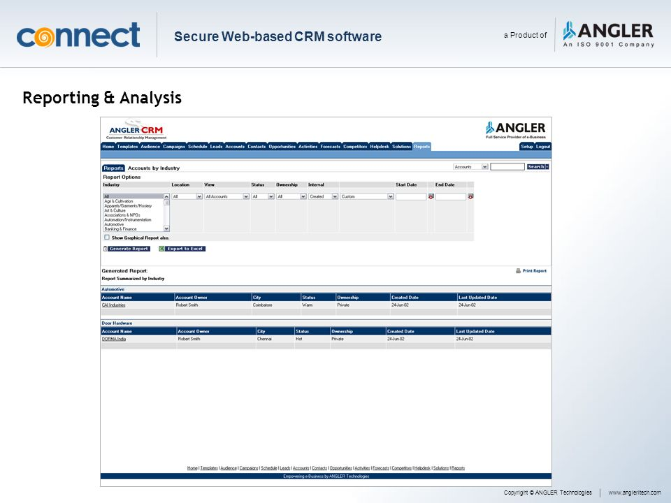 Reporting & Analysis Secure Web-based CRM software a Product of