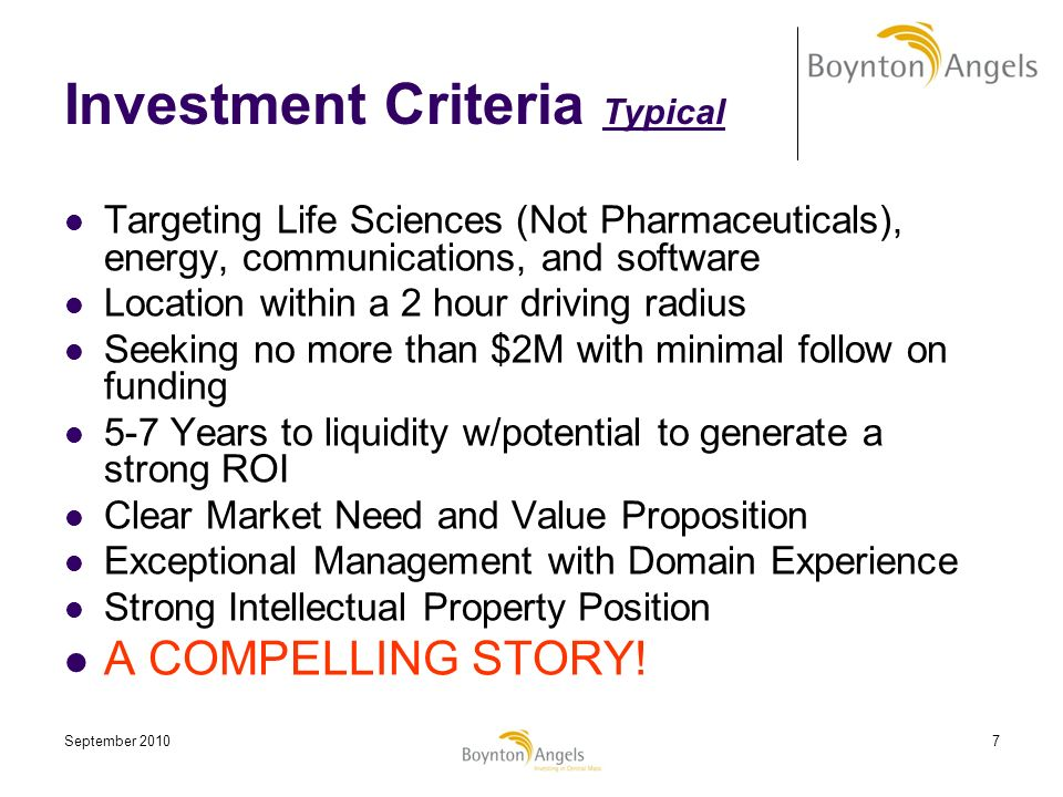Investment Criteria Typical