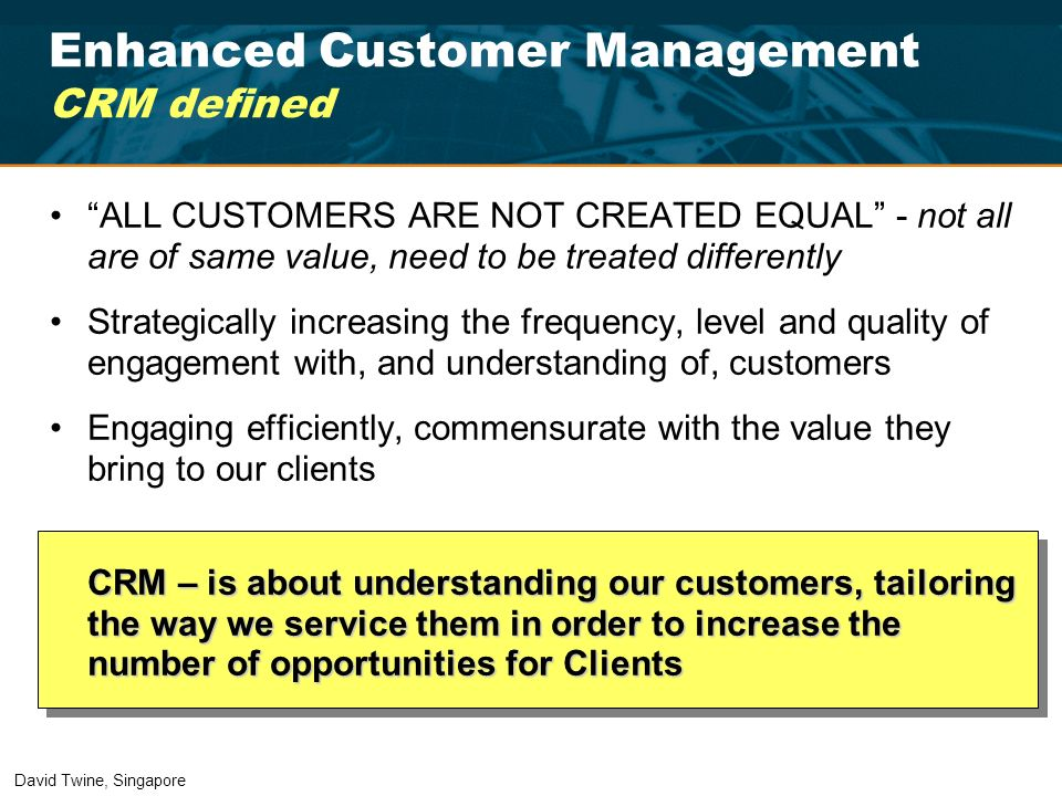 Enhanced Customer Management CRM defined