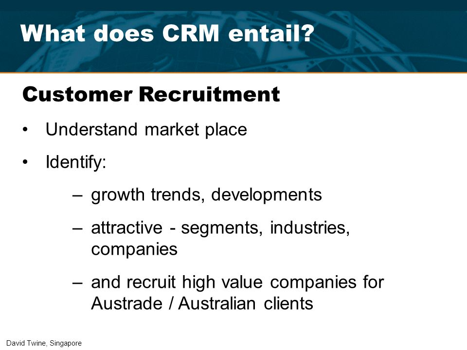 What does CRM entail Customer Recruitment Understand market place