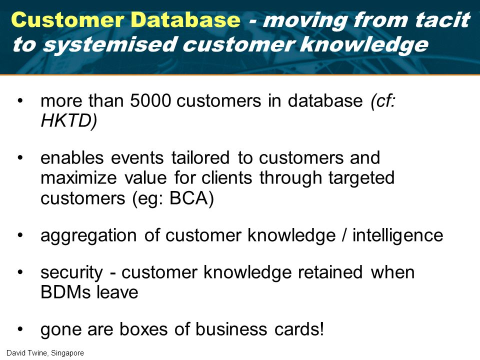 Customer Database - moving from tacit to systemised customer knowledge